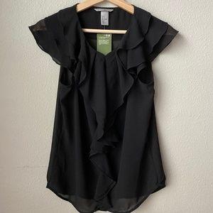 H&M Black Ruffle Sleeveless Blouse - NWT